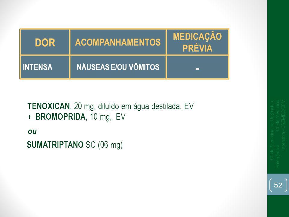 TENOXICAN, 20 mg, diluído em água destilada, EV + BROMOPRIDA, 10 mg, EV SUMATRIPTANO SC (06 mg) ou DOR ACOMPANHAMENTOS MEDICAÇÃO PRÉVIA INTENSANÁUSEAS