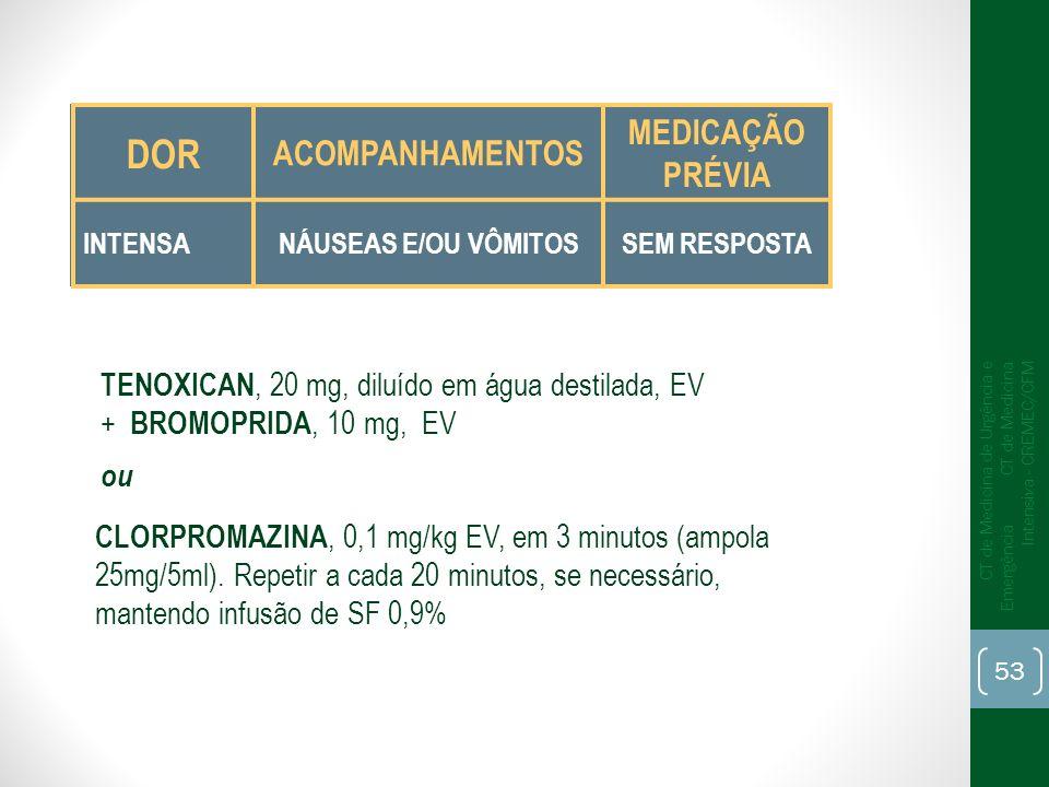 TENOXICAN, 20 mg, diluído em água destilada, EV + BROMOPRIDA, 10 mg, EV ou CLORPROMAZINA, 0,1 mg/kg EV, em 3 minutos (ampola 25mg/5ml). Repetir a cada