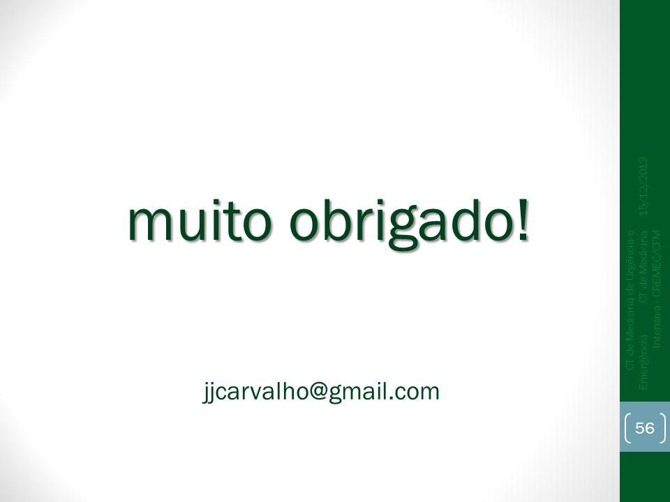15/12/2013 CT de Medicina de Urgência e Emergência CT de Medicina Intensiva - CREMEC/CFM 56 muito obrigado! jjcarvalho@gmail.com
