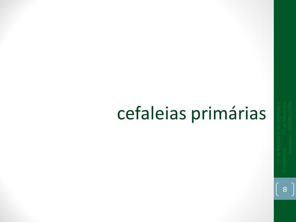 História clínica características de cefaleia primária sinais de alarme (raros) Exame neurológico anormalidades (raras) Exames complementares anormalidades (raras) CT de Medicina de Urgência e Emergência CT de Medicina Intensiva - CREMEC/CFM 9