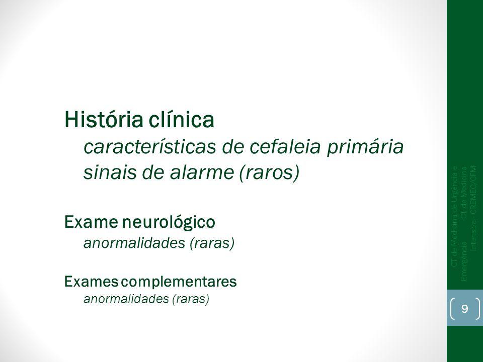 História clínica características de cefaleia primária sinais de alarme (raros) Exame neurológico anormalidades (raras) Exames complementares anormalid