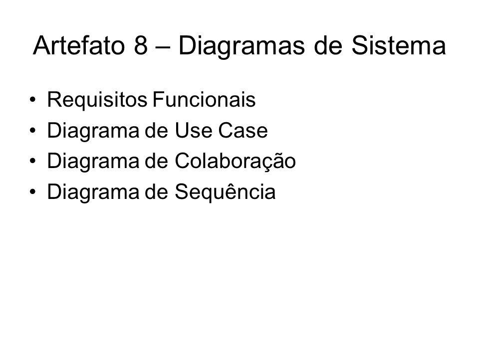 Artefato 8 – Diagramas de Sistema Requisitos Funcionais Diagrama de Use Case Diagrama de Colaboração Diagrama de Sequência