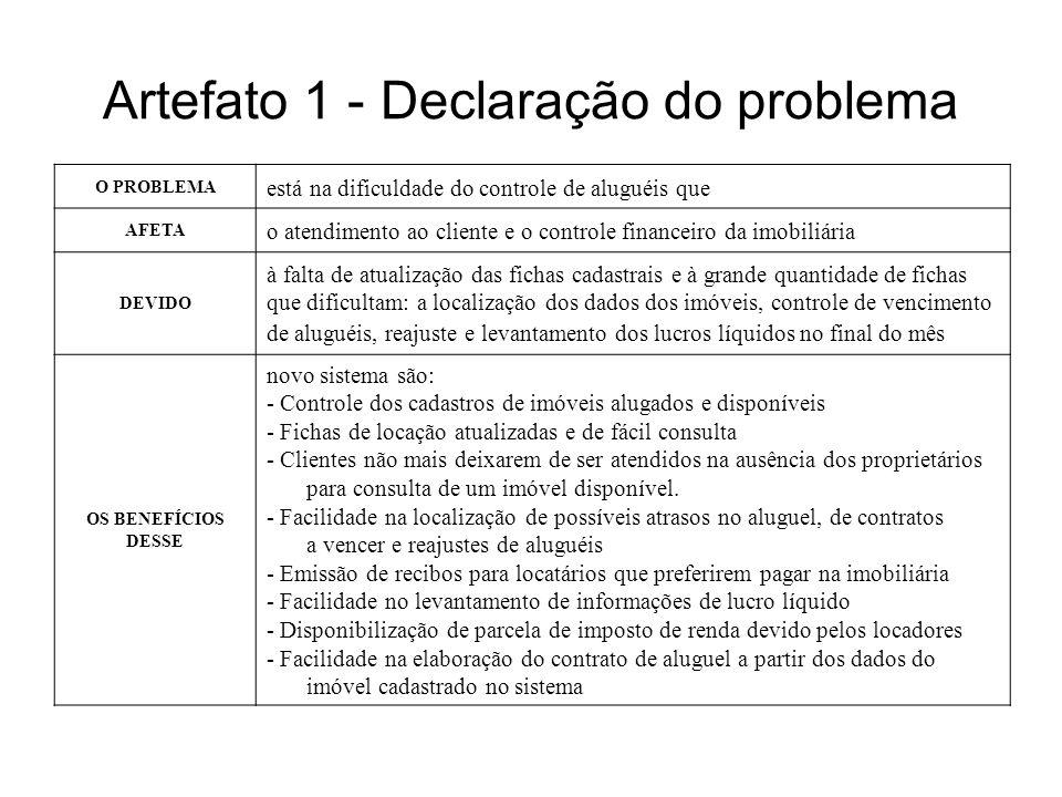 Artefato 1 - Declaração do problema O PROBLEMA está na dificuldade do controle de aluguéis que AFETA o atendimento ao cliente e o controle financeiro