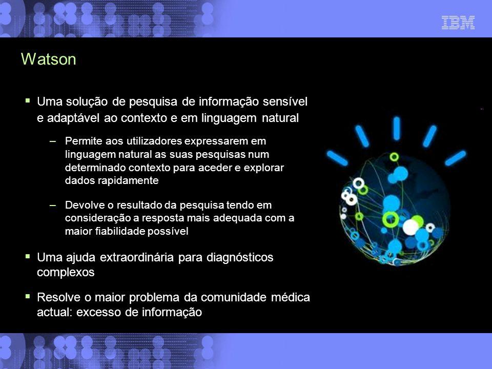Watson Uma solução de pesquisa de informação sensível e adaptável ao contexto e em linguagem natural –Permite aos utilizadores expressarem em linguage