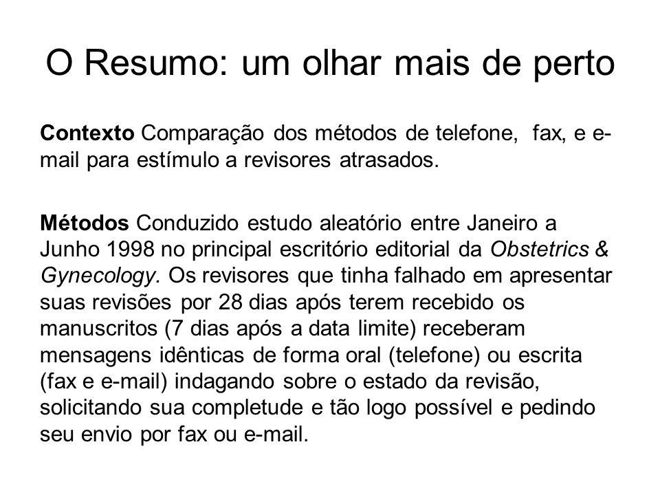 O Resumo: um olhar mais de perto Contexto Comparação dos métodos de telefone, fax, e e- mail para estímulo a revisores atrasados. Métodos Conduzido es