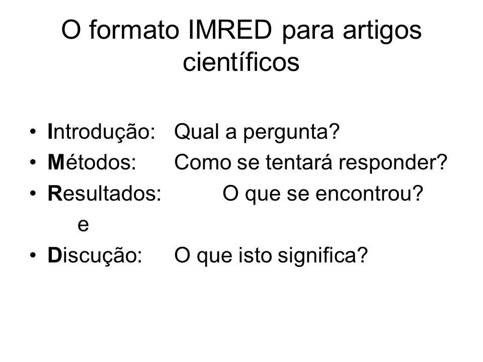 O formato IMRED para artigos científicos Introdução:Qual a pergunta? Métodos:Como se tentará responder? Resultados:O que se encontrou? e Discução:O qu