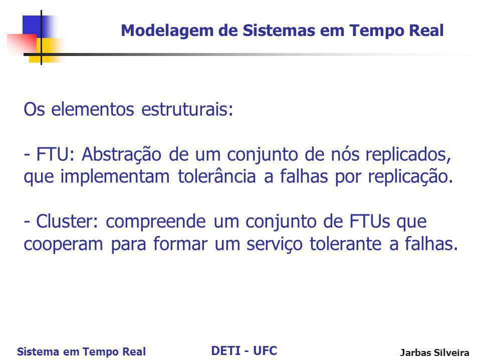 DETI - UFC Sistema em Tempo Real Jarbas Silveira Os elementos estruturais: - FTU: Abstração de um conjunto de nós replicados, que implementam tolerânc