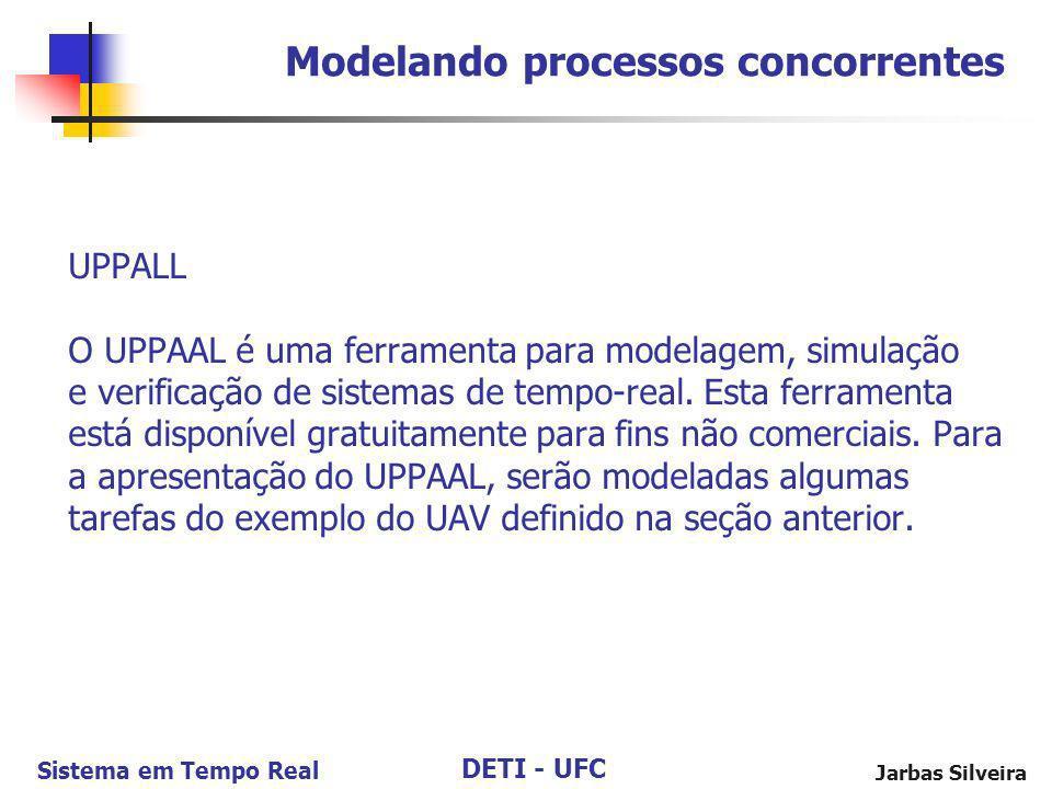 DETI - UFC Sistema em Tempo Real Jarbas Silveira UPPALL O UPPAAL é uma ferramenta para modelagem, simulação e verificação de sistemas de tempo-real. E