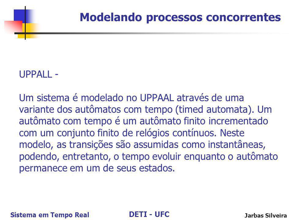 DETI - UFC Sistema em Tempo Real Jarbas Silveira UPPALL - Um sistema é modelado no UPPAAL através de uma variante dos autômatos com tempo (timed autom