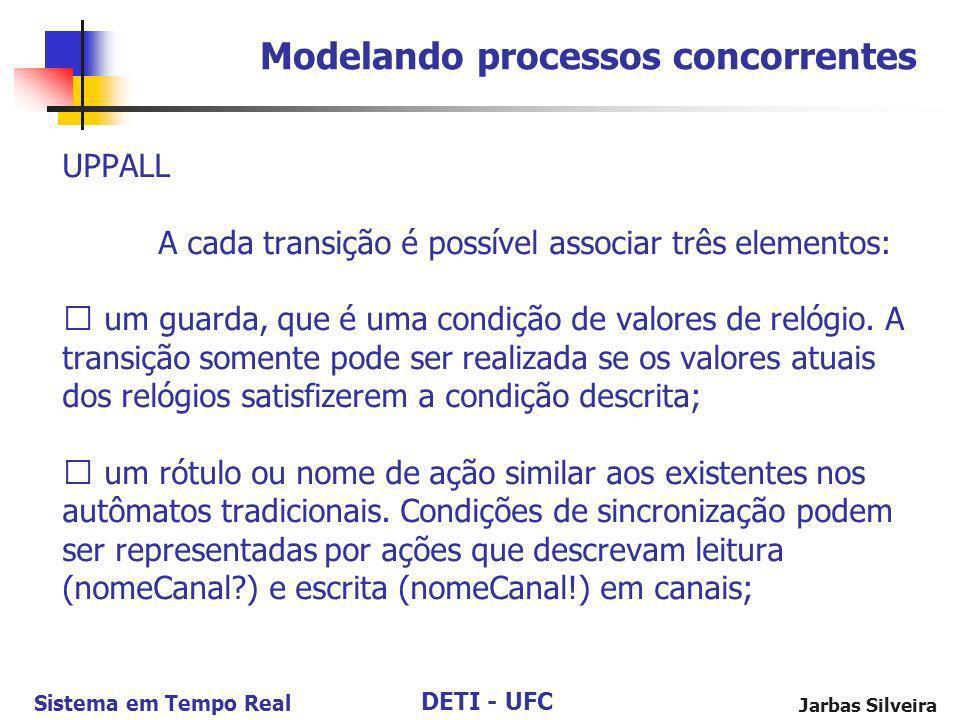 DETI - UFC Sistema em Tempo Real Jarbas Silveira UPPALL A cada transição é possível associar três elementos: um guarda, que é uma condição de valores