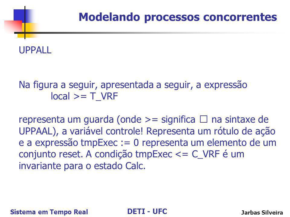 DETI - UFC Sistema em Tempo Real Jarbas Silveira UPPALL Na figura a seguir, apresentada a seguir, a expressão local >= T_VRF representa um guarda (ond