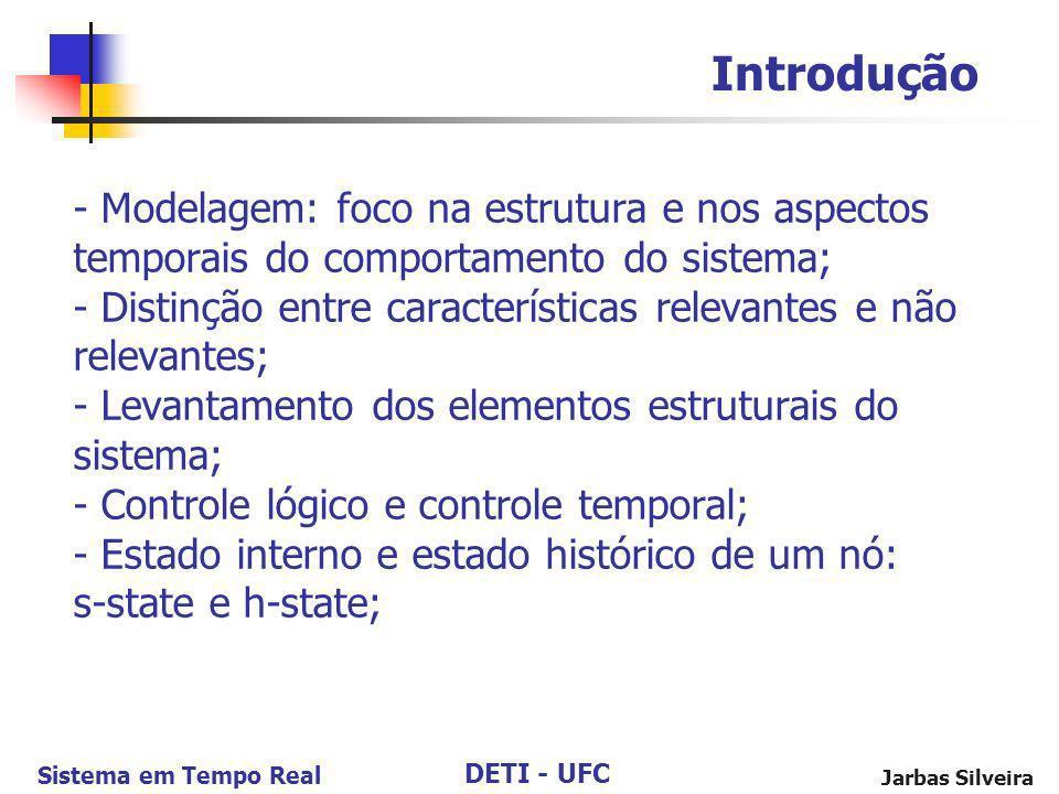 DETI - UFC Sistema em Tempo Real Jarbas Silveira - Modelagem: foco na estrutura e nos aspectos temporais do comportamento do sistema; - Distinção entr