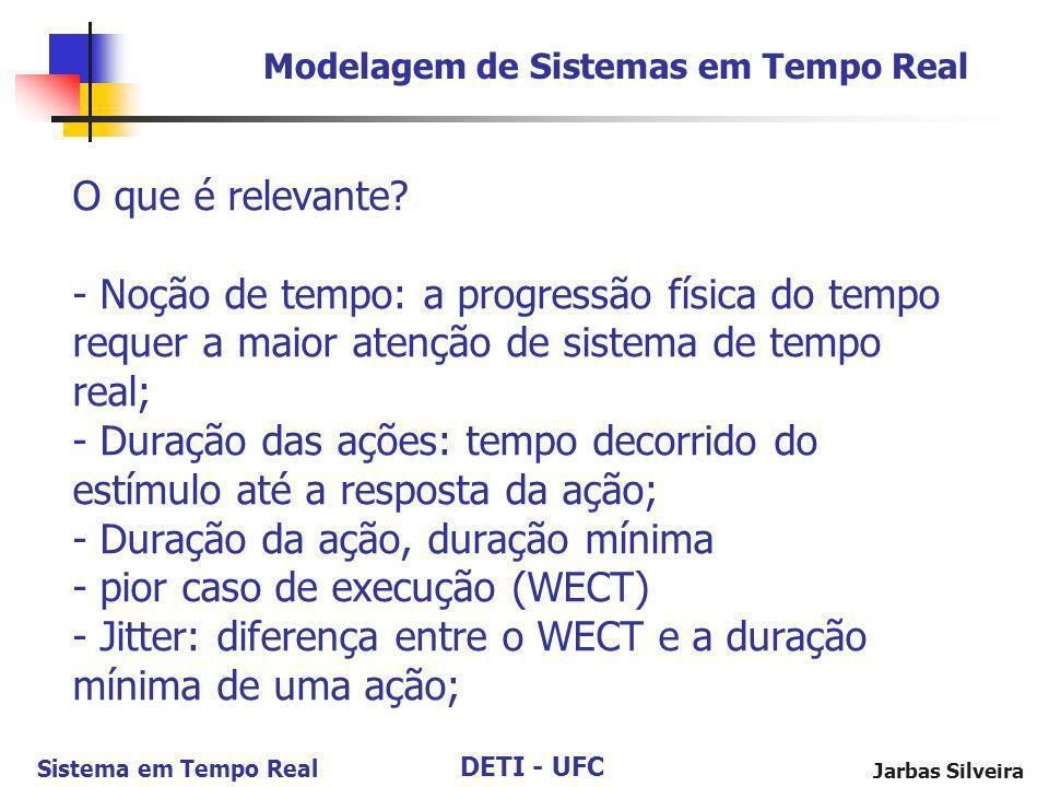 DETI - UFC Sistema em Tempo Real Jarbas Silveira O que é relevante? - Noção de tempo: a progressão física do tempo requer a maior atenção de sistema d