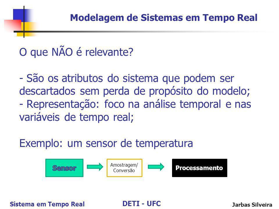 DETI - UFC Sistema em Tempo Real Jarbas Silveira O que NÃO é relevante? - São os atributos do sistema que podem ser descartados sem perda de propósito
