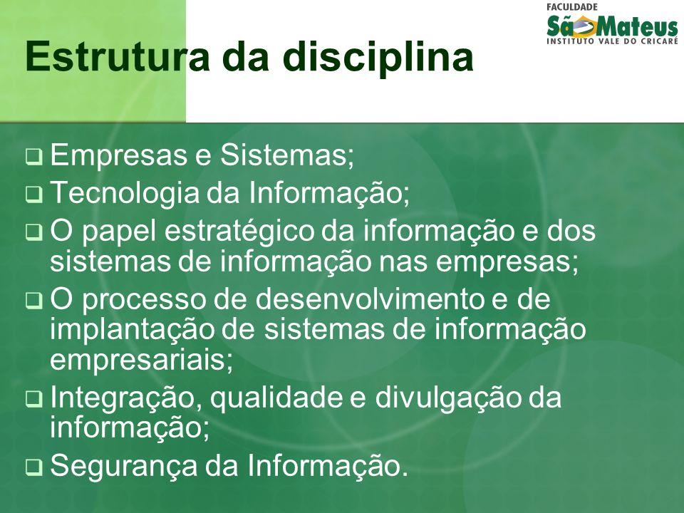 Estrutura da disciplina Empresas e Sistemas; Tecnologia da Informação; O papel estratégico da informação e dos sistemas de informação nas empresas; O