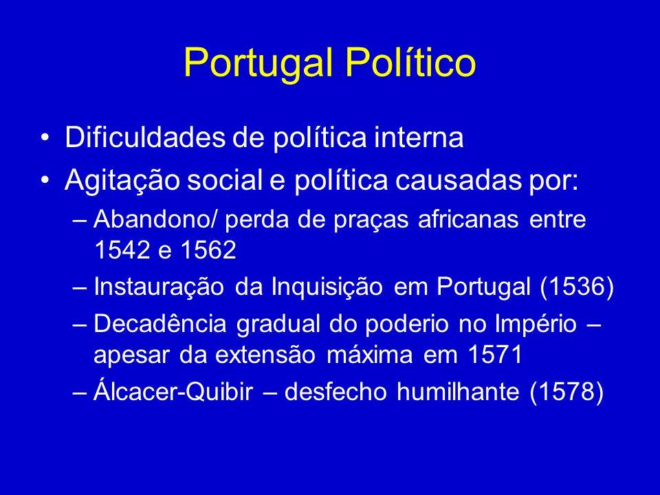 Portugal Político Dificuldades de política interna Agitação social e política causadas por: –Abandono/ perda de praças africanas entre 1542 e 1562 –In