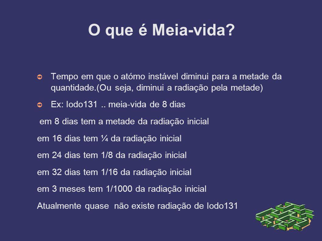 O que é Meia-vida? Tempo em que o atómo instável diminui para a metade da quantidade.(Ou seja, diminui a radiação pela metade) Ex: Iodo131.. meia-vida