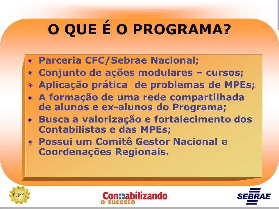 Parceria CFC/Sebrae Nacional; Conjunto de ações modulares – cursos; Aplicação prática de problemas de MPEs; A formação de uma rede compartilhada de al