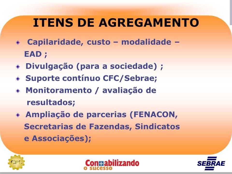ITENS DE AGREGAMENTO Capilaridade, custo – modalidade – EAD ; Divulgação (para a sociedade) ; Suporte contínuo CFC/Sebrae; Monitoramento / avaliação d