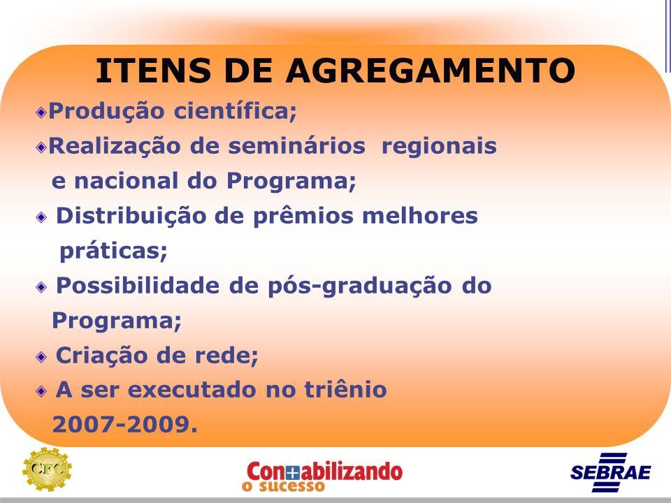 ITENS DE AGREGAMENTO Produção científica; Realização de seminários regionais e nacional do Programa; Distribuição de prêmios melhores práticas; Possib