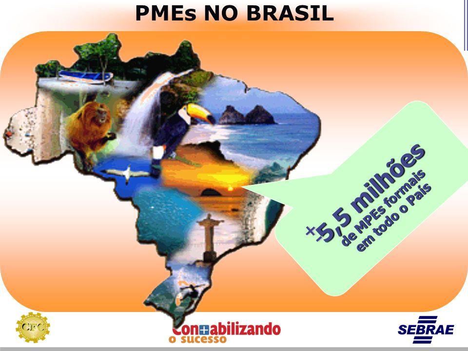 PMEs NO BRASIL 5,5 milhões de MPEs formais em todo o País + -
