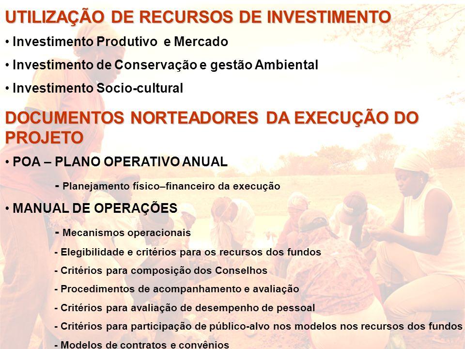 UTILIZAÇÃO DE RECURSOS DE INVESTIMENTO Investimento Produtivo e Mercado Investimento de Conservação e gestão Ambiental Investimento Socio-cultural DOC