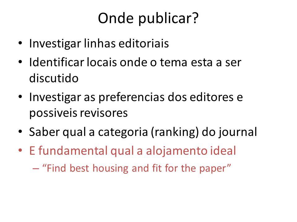 Onde publicar? Investigar linhas editoriais Identificar locais onde o tema esta a ser discutido Investigar as preferencias dos editores e possiveis re