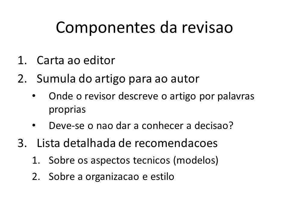 Componentes da revisao 1.Carta ao editor 2.Sumula do artigo para ao autor Onde o revisor descreve o artigo por palavras proprias Deve-se o nao dar a c