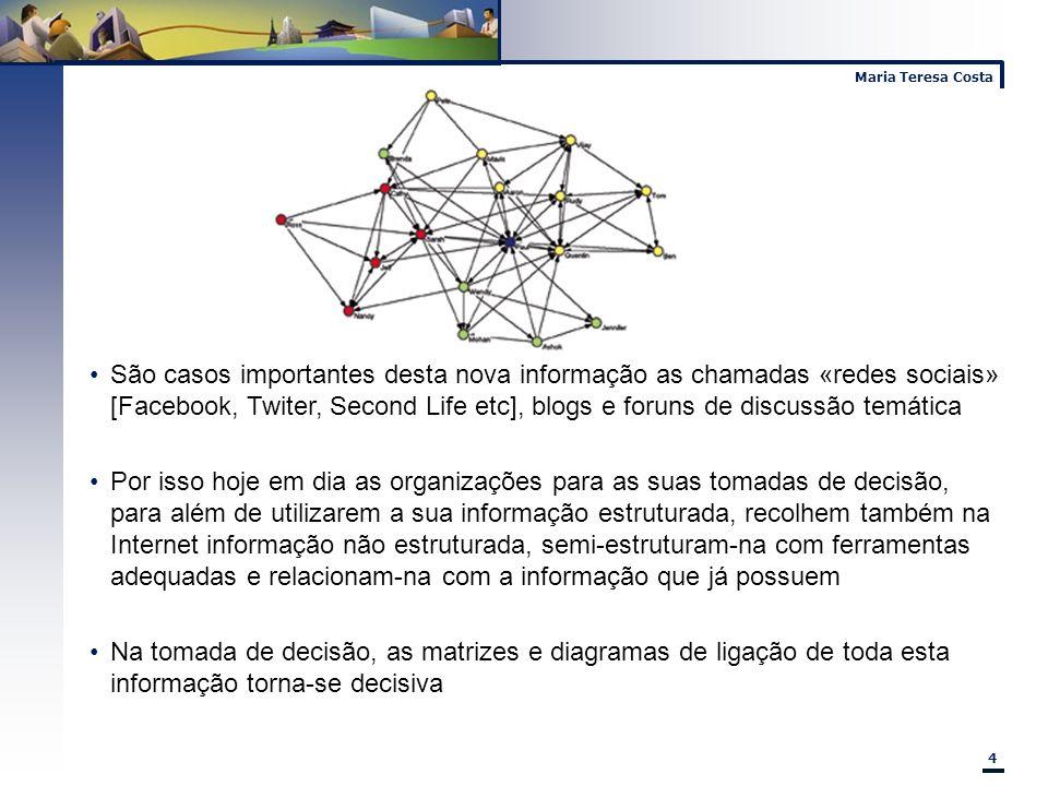 Maria Teresa Costa 4 São casos importantes desta nova informação as chamadas «redes sociais» [Facebook, Twiter, Second Life etc], blogs e foruns de di