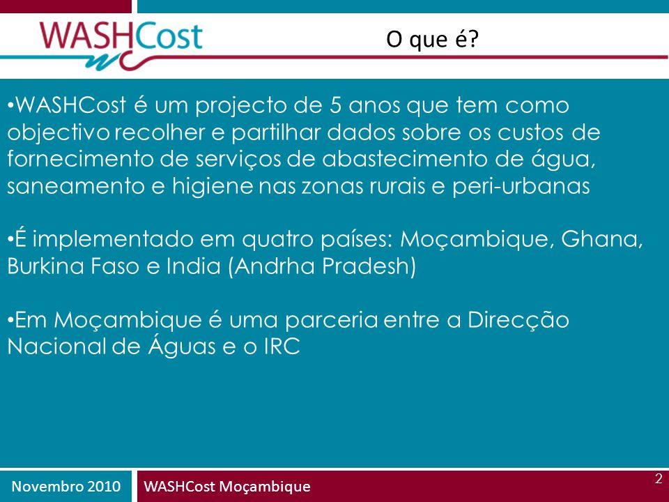 Novembro 2010WASHCost Moçambique 3 Que custos recolhemos AbreviaturaNomeDescrição CapEx Despesa Capital Investimentos em activos fixos (infra-estruras, fiscalização e PEC inicial) CapManEx Despesas de manutenção de capital Despesas em renovação de infra-estruras, custos de reposição e reabilitação OpEx Despesas de operação e pequenas manutenções (manutenção de rotina) Despesas com a operação regular do serviço, incluindo manutenção de rotina CoC Custos de capital Custos do dinheiro (onde é emprestado); mas mesmo os donativos tem custo (opportunity cost) ExpDS Custos de apoio directo Custo de apoio pós-construção (apoio directo aos consumidores ou fornecedores de serviços ExpIDS Custos de Apoio Indirecto Custo de gerir o sector a nível macro (formulação de políticas e estratégias)