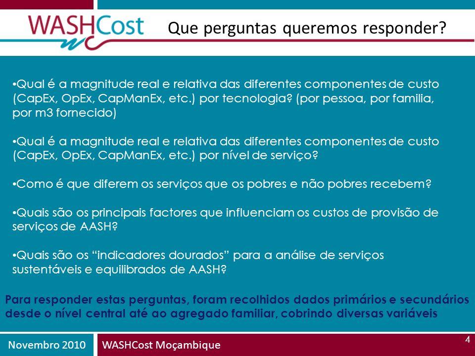Novembro 2010WASHCost Moçambique 4 Que perguntas queremos responder? Qual é a magnitude real e relativa das diferentes componentes de custo (CapEx, Op