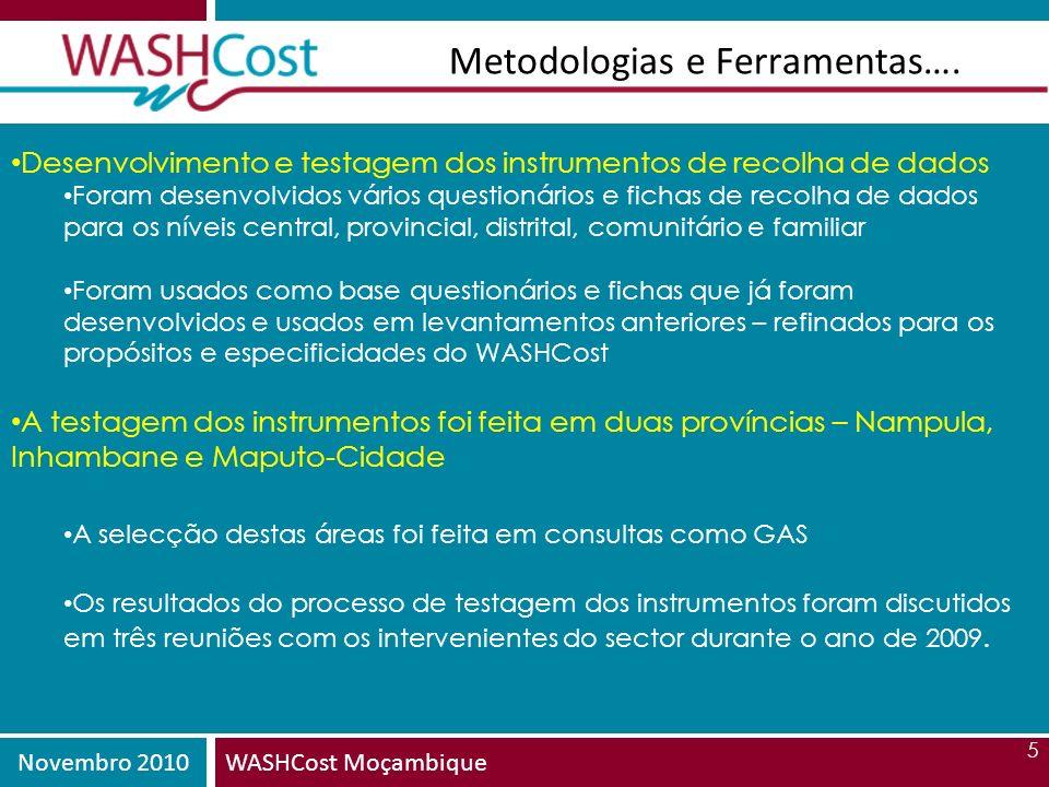 Novembro 2010WASHCost Moçambique 5 Metodologias e Ferramentas…. Desenvolvimento e testagem dos instrumentos de recolha de dados Foram desenvolvidos vá