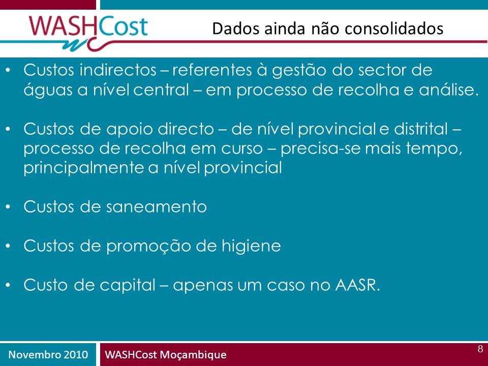 Novembro 2010WASHCost Moçambique 8 Dados ainda não consolidados Custos indirectos – referentes à gestão do sector de águas a nível central – em proces