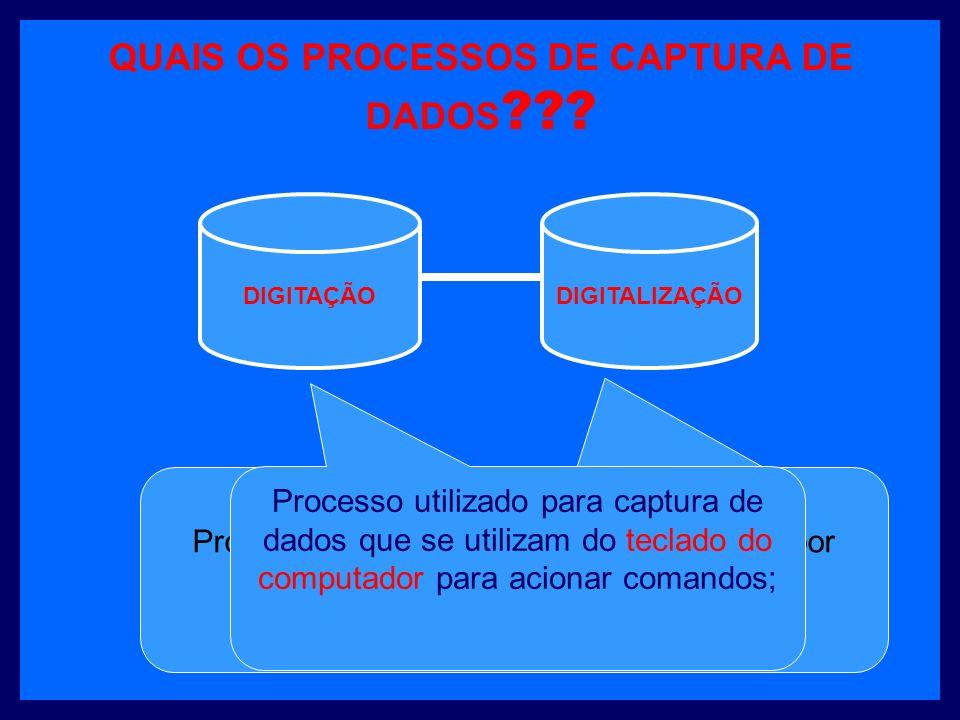 QUAIS OS PROCESSOS DE CAPTURA DE DADOS .