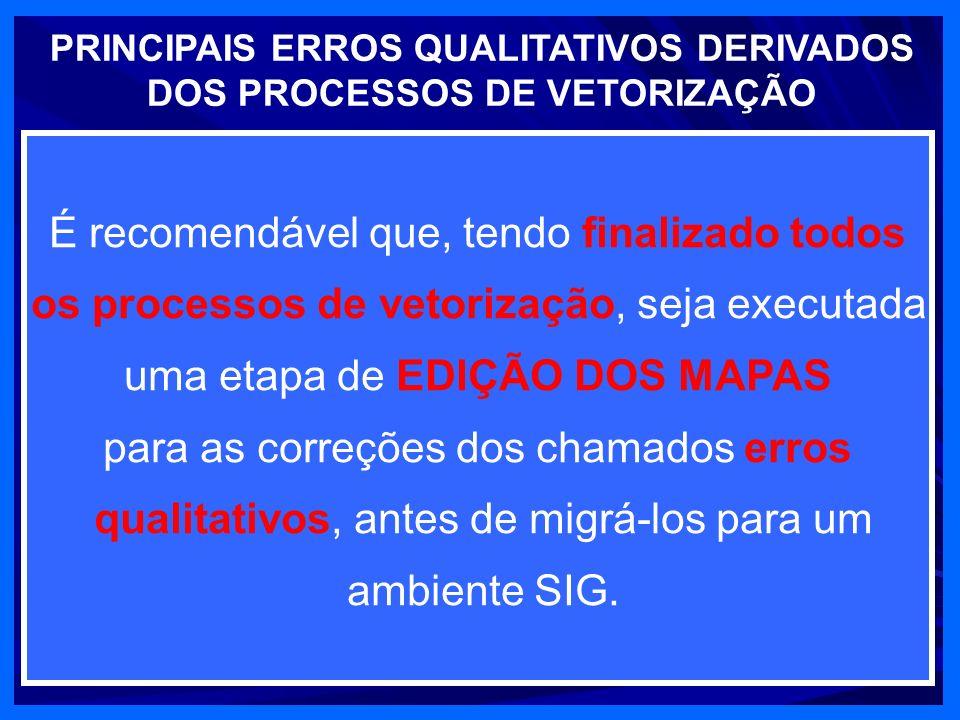 PRINCIPAIS ERROS QUALITATIVOS DERIVADOS DOS PROCESSOS DE VETORIZAÇÃO HESITANTE CURVAS ESTREITAS GIROS EXCESSO OU FALTA NÓS É recomendável que, tendo finalizado todos os processos de vetorização, seja executada uma etapa de EDIÇÃO DOS MAPAS para as correções dos chamados erros qualitativos, antes de migrá-los para um ambiente SIG.