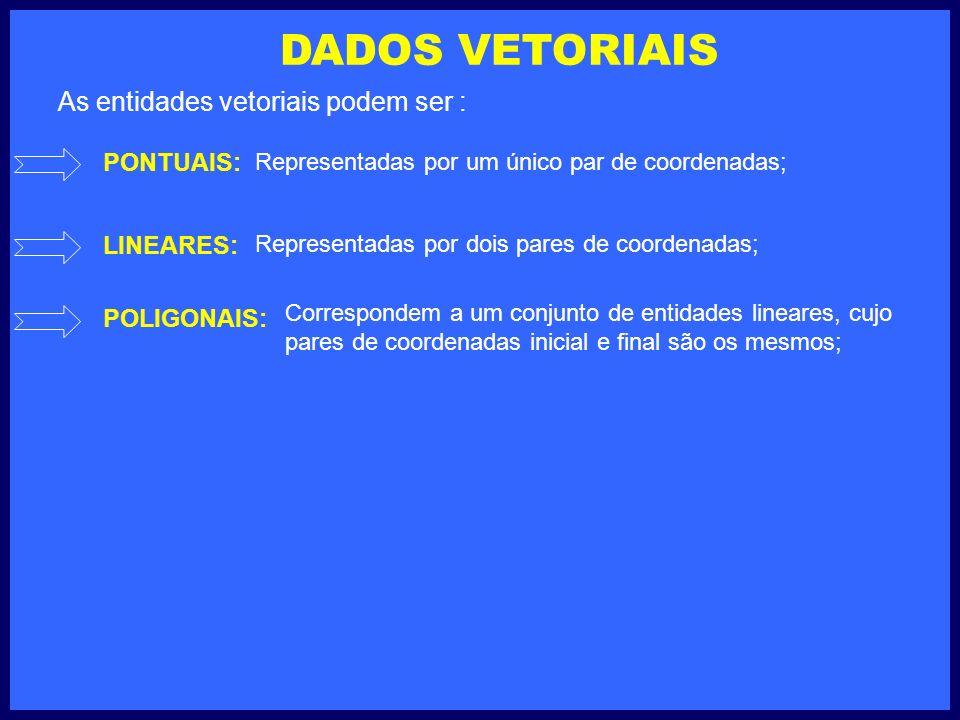 DADOS VETORIAIS PONTUAIS: LINEARES: POLIGONAIS: Representadas por um único par de coordenadas; Representadas por dois pares de coordenadas; Correspondem a um conjunto de entidades lineares, cujo pares de coordenadas inicial e final são os mesmos; As entidades vetoriais podem ser :
