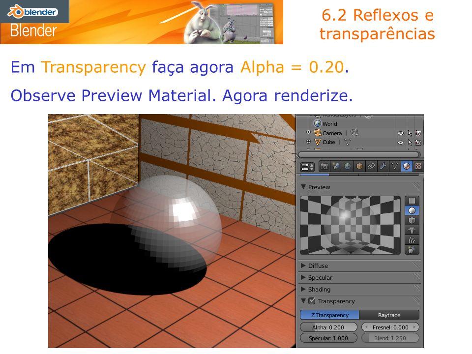 6.2 Reflexos e transparências Em Transparency faça agora Alpha = 0.20. Observe Preview Material. Agora renderize.