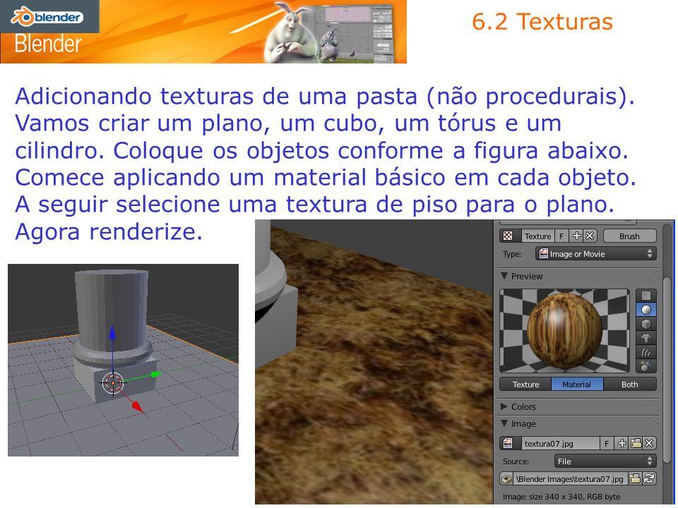 Adicionando texturas de uma pasta (não procedurais). Vamos criar um plano, um cubo, um tórus e um cilindro. Coloque os objetos conforme a figura abaix
