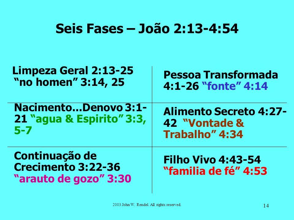2003 John W. Rendel. All rights reserved. 14 Limpeza Geral 2:13-25 no homen 3:14, 25 Nacimento...Denovo 3:1- 21 agua & Espirito 3:3, 5-7 Continuação d