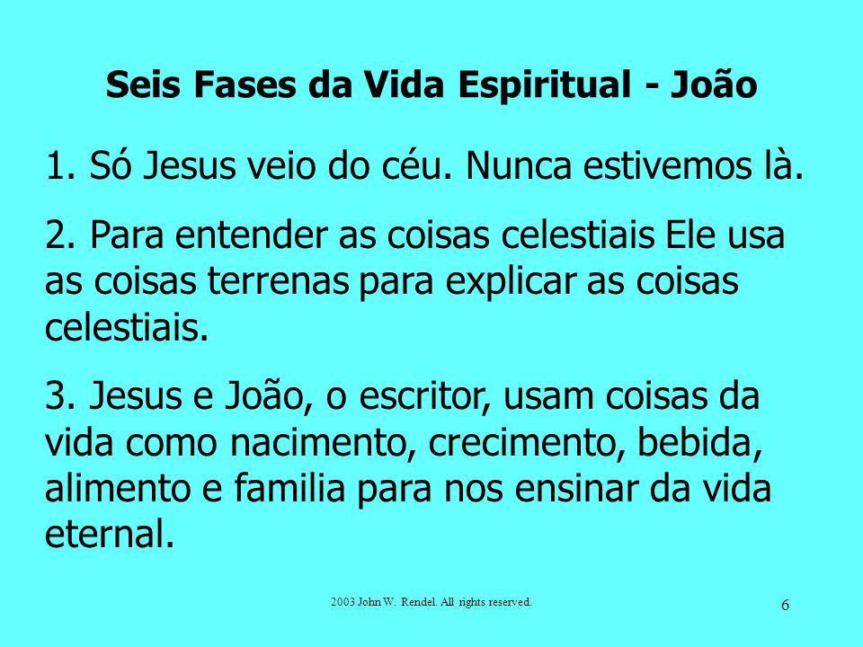 2003 John W. Rendel. All rights reserved. 6 1. Só Jesus veio do céu. Nunca estivemos là. 2. Para entender as coisas celestiais Ele usa as coisas terre