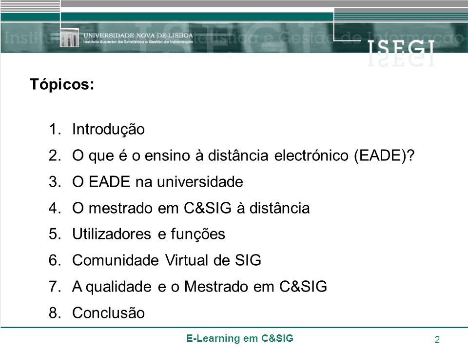 E-Learning em C&SIG 2 Tópicos: 1.Introdução 2.O que é o ensino à distância electrónico (EADE)? 3.O EADE na universidade 4.O mestrado em C&SIG à distân