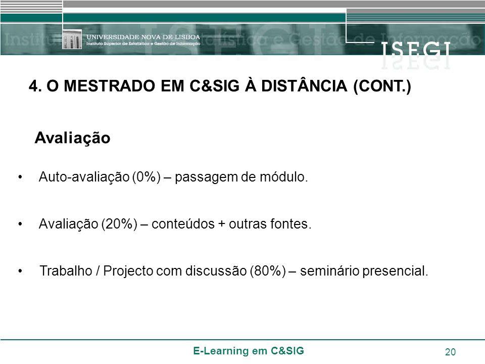 E-Learning em C&SIG 20 Auto-avaliação (0%) – passagem de módulo. Avaliação (20%) – conteúdos + outras fontes. Trabalho / Projecto com discussão (80%)