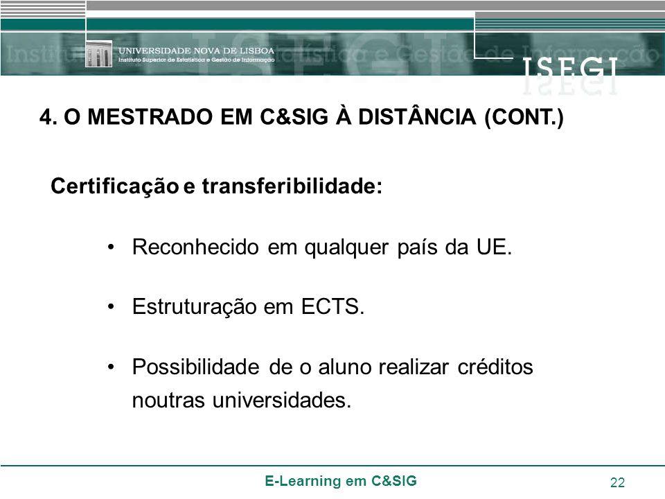 E-Learning em C&SIG 22 Certificação e transferibilidade: Reconhecido em qualquer país da UE. Estruturação em ECTS. Possibilidade de o aluno realizar c