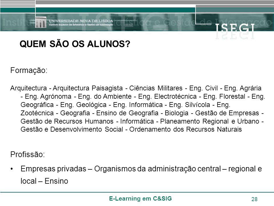 E-Learning em C&SIG 28 Formação: Arquitectura - Arquitectura Paisagista - Ciências Militares - Eng. Civil - Eng. Agrária - Eng. Agrónoma - Eng. do Amb