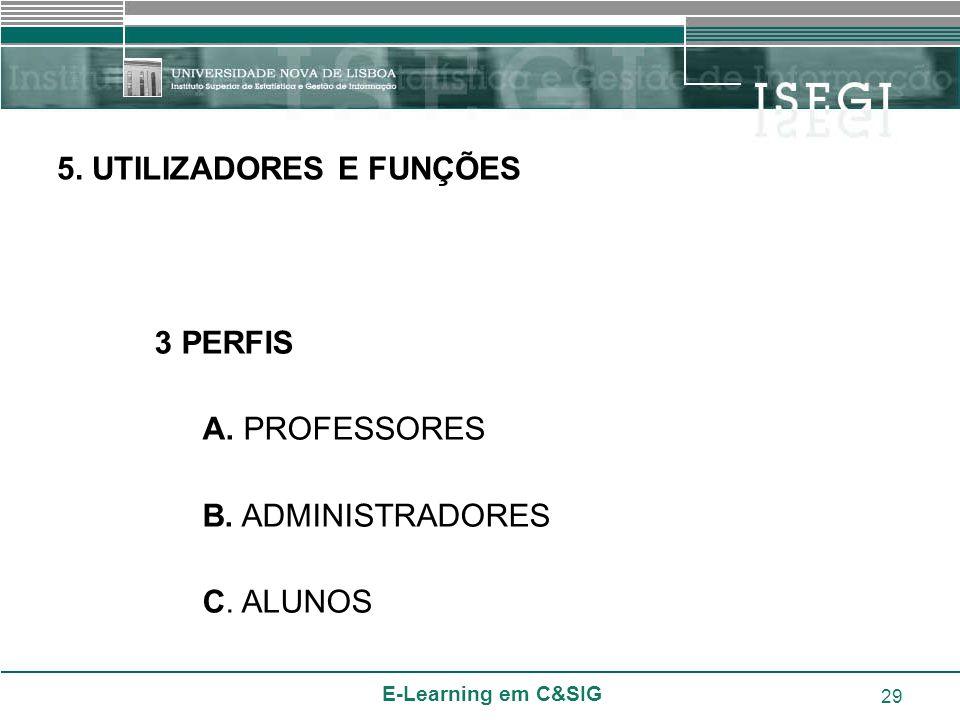 E-Learning em C&SIG 29 3 PERFIS A. PROFESSORES B. ADMINISTRADORES C. ALUNOS 5. UTILIZADORES E FUNÇÕES
