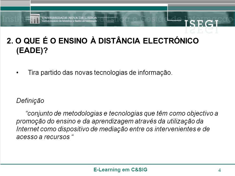 E-Learning em C&SIG 4 2. O QUE É O ENSINO À DISTÂNCIA ELECTRÓNICO (EADE)? Tira partido das novas tecnologias de informação. Definição conjunto de meto