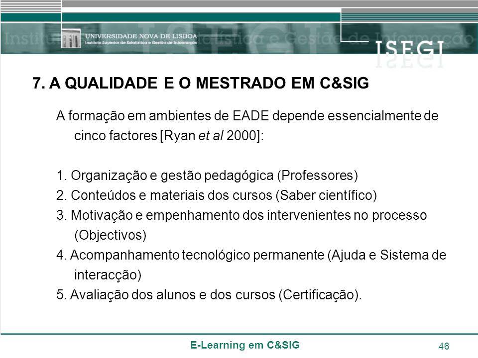 E-Learning em C&SIG 46 7. A QUALIDADE E O MESTRADO EM C&SIG A formação em ambientes de EADE depende essencialmente de cinco factores [Ryan et al 2000]