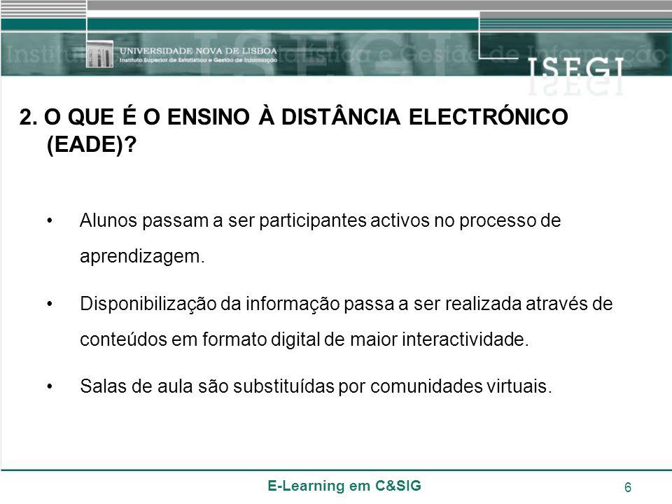 E-Learning em C&SIG 6 2. O QUE É O ENSINO À DISTÂNCIA ELECTRÓNICO (EADE)? Alunos passam a ser participantes activos no processo de aprendizagem. Dispo