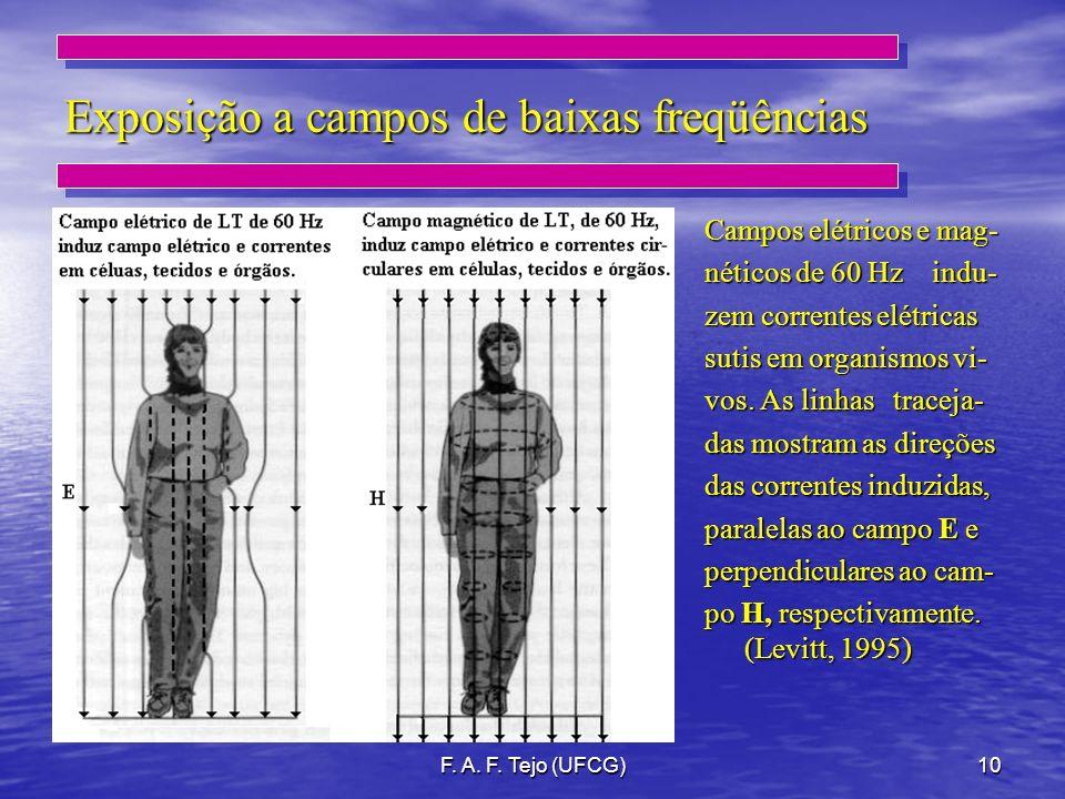 F. A. F. Tejo (UFCG)10 Exposição a campos de baixas freqüências Campos elétricos e mag- néticos de 60 Hz indu- zem correntes elétricas sutis em organi