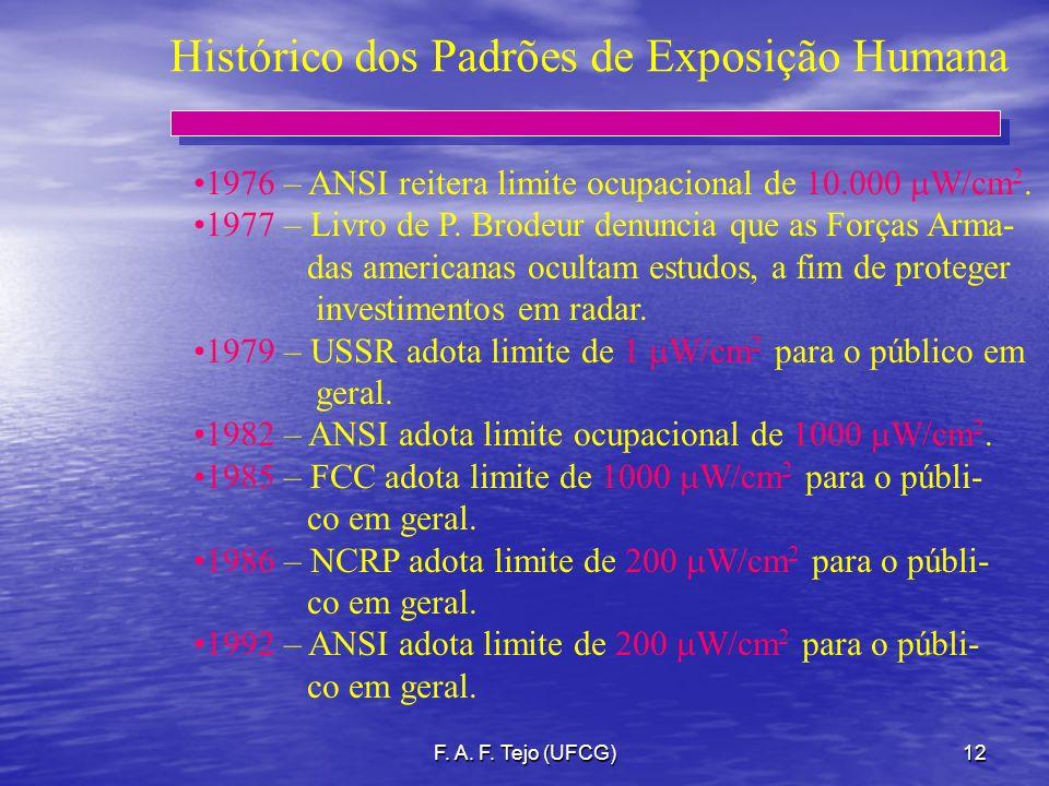 F. A. F. Tejo (UFCG)12 Histórico dos Padrões de Exposição Humana 1976 – ANSI reitera limite ocupacional de 10.000 W/cm 2. 1977 – Livro de P. Brodeur d